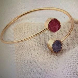 European Vintage Druzy Asymmetry Cuff Bracelet